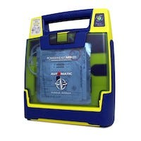 lime green and blue aed