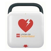 white aed with red heart